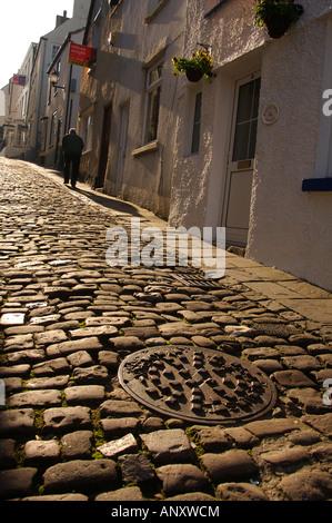 Cobbled Street Hocker Hill Chepstow - Stock Photo