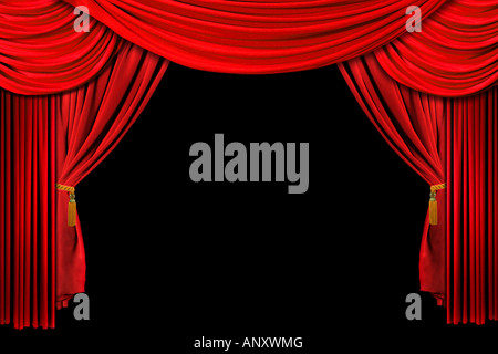 Bright Red Stage Theater Draped Curtain Background on Black - Stock Photo