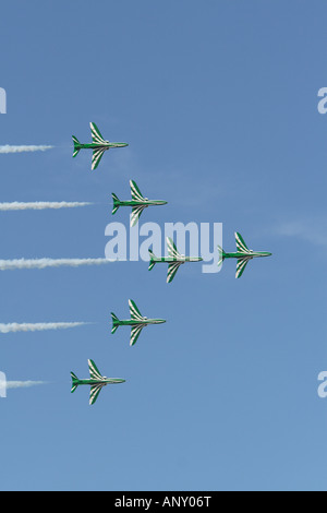 BAE hawks of the Royal Saudi Ariabia Air Force performing at the Al Ain airshow United Arab Emirates 2007 - Stock Photo