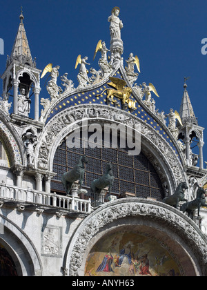 Front of the Basilica de San Marco in St Marks Square in Venice in Italy - Stock Photo