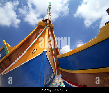 MT - MALTA: Traditional Fishing Boats at Marsaxlokk Harbour Stock Photo
