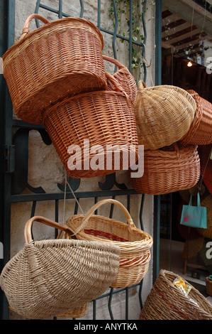 France, Languedoc-Roussillon, Uzes, shopping area Stock Photo ...