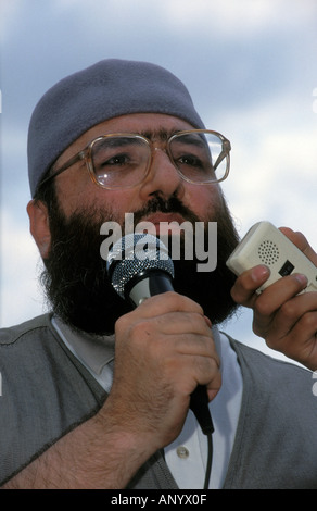 Sheikh Omar Bakri Muhammad aka Tottenham Ayatollah, Amir of Muhajiroun, Trafalgar Square, London, UK. July 1999. - Stock Photo