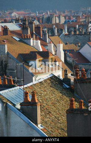 FRANCE, Jura, Doubs, BESANCON: Town Rooftops from Fort Griffon / Late Afternoon - Stock Photo
