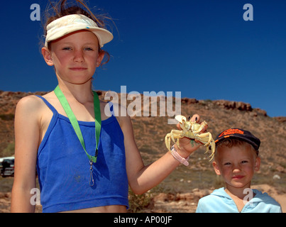 Kids at Red Bluff campsite Stock Photo