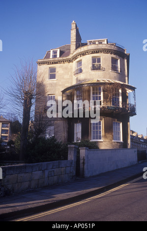 Camden Crescent, Bath, Somerset, UK Regency end of terrace house on hill overlooking city bow facade with canopied - Stock Photo