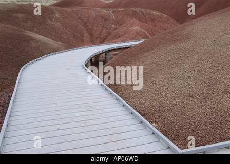 Wheelchair accessible boardwalk through Painted Hills Oregon USA - Stock Photo