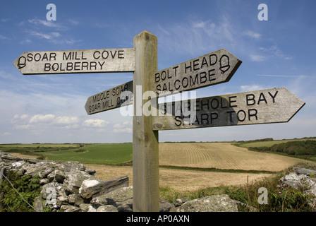 Signpost on the south west coast path near Bolt Head, south Devon - Stock Photo