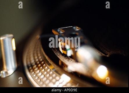 needle on record turntable - Stock Photo