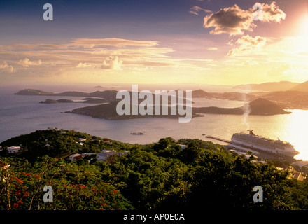 Carnival Cruise Ship Docked In Charlotte Amalie Bay St Thomas US Virgin Islands - Stock Photo