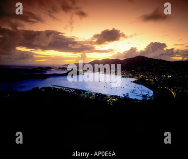 Lights of Charlotte Amalie Bay At sunset with Purple Sky and Clouds St Thomas US Virgin Islands - Stock Photo