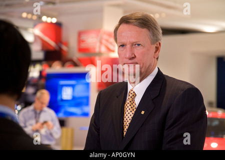 Detroit Michigan General Motors CEO Rick Wagoner at the North American International Auto Show - Stock Photo
