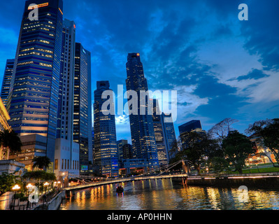 Singapore River as seen from the Anderson Bridge at twilight - Stock Photo