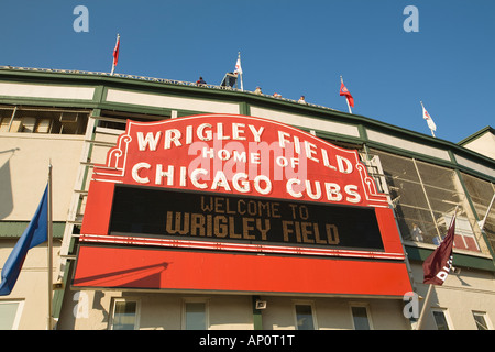 ILLINOIS Chicago Famous red sign on Wrigley Field stadium for Chicago Cubs professional baseball team - Stock Photo