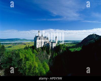 Castle Neuschwanstein, Allgaeu, Upper Bavaria, Bavaria, Germany - Stock Photo