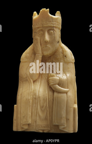 chess piece Isle Lewis king ivory fine arts Nordic arts sculpture chess piece Outer Hebrides 12th century walrus - Stock Photo