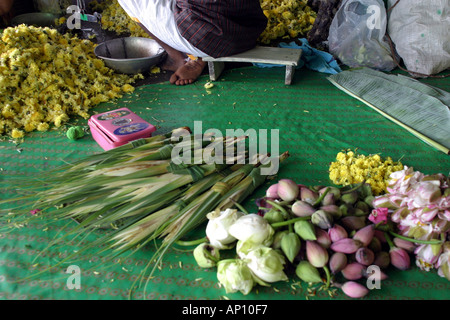 A flower seller s market stall Madurai South India - Stock Photo