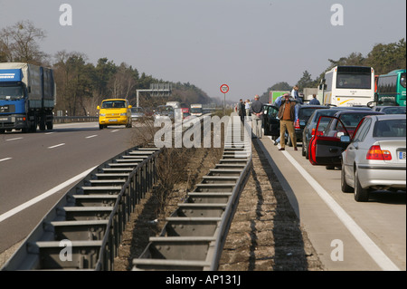 Traffic jam on the Autobahn from Berlin to Hannover, Germany - Stock Photo