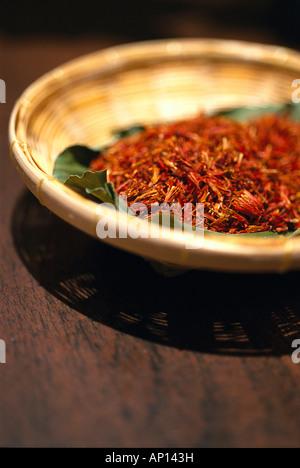Bowl with dried herbs, Hotel Banyan Tree, Bangkok, Thailand - Stock Photo