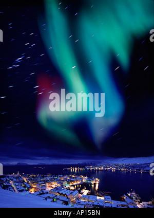 Aurora borealis near Hammerfest, Northern Norway, Norway - Stock Photo
