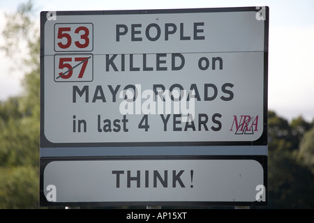 53 57 crossed out people killed on Mayo road in last 4 years sign County Mayo Republic of Ireland - Stock Photo
