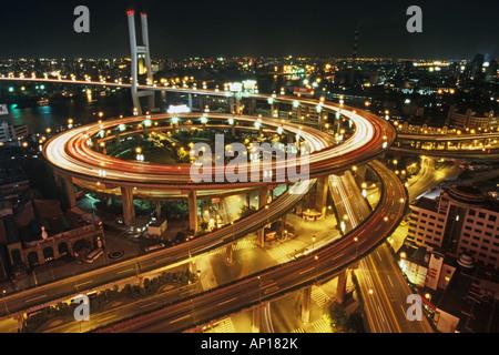 elevated highway system, Nanpu Bridge Interchange, Shanghai - Stock Photo