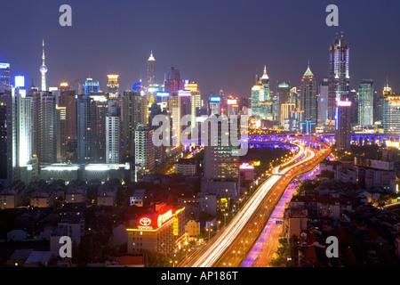 Gaojia motorway, nightshot, Gaojia, elevated highway system, Crossing of Chongqing Zhong Lu and Yan'an Dong Lu, - Stock Photo