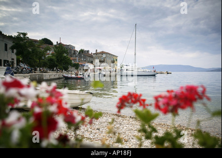 View of the harbour, Valun, Cres Island, Croatia - Stock Photo