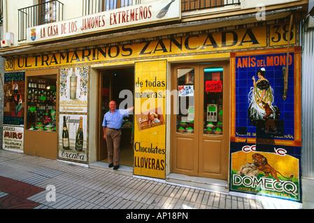 Delicatessen and Ham Shop, Merida, Province Badajoz, Extremadura, Spain - Stock Photo