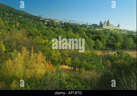 Sierra de Guadarrama and monastery, Monasterio de El Escorial, Province Madrid, Spain - Stock Photo