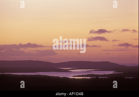 Dawn looking southeast from mount Gabriel skull to roaring water bay and baltimore atlantic coast county cork Ireland - Stock Photo
