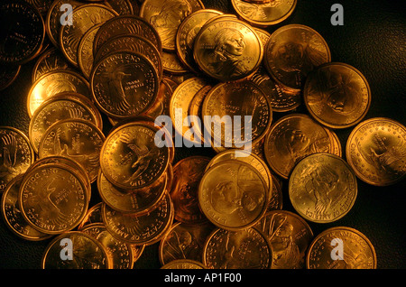 American Gold coins one dollar - Stock Photo