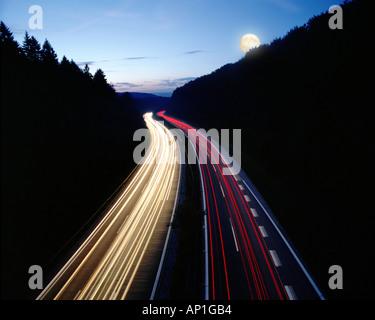 DE - BAVARIA:  Autobahn Frankfurt to Munich by night - Stock Photo