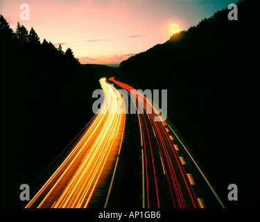 DE - BAVARIA: Motorway A3 from Frankfurt to Munich - Stock Photo