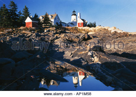 Pemaquid lighthouse Bristol Maine - Stock Photo