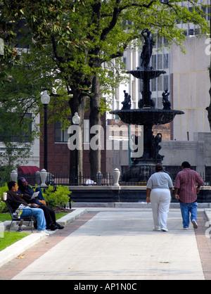 Fountain and gardens Court Square Main Street Memphis USA - Stock Photo