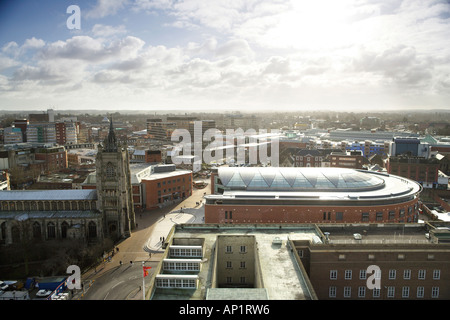 Looking South Aerial View Of City Hall and Forum Norwich Norfolk UK - Stock Photo