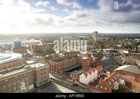 Looking South West Aerial View Of City Centre Norwich Norfolk UK - Stock Photo