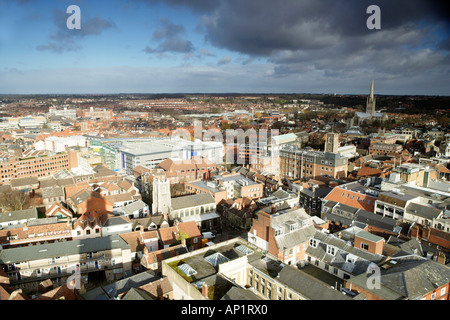 Looking North East Aerial View Of City Centre Norwich Norfolk UK - Stock Photo