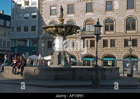 Fountain of Charity Gammel Torv the Old Square Copenhagen Denmark - Stock Photo