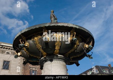 Fountain of Charity, Gammel Torv, the Old Square, Copenhagen, Denmark - Stock Photo