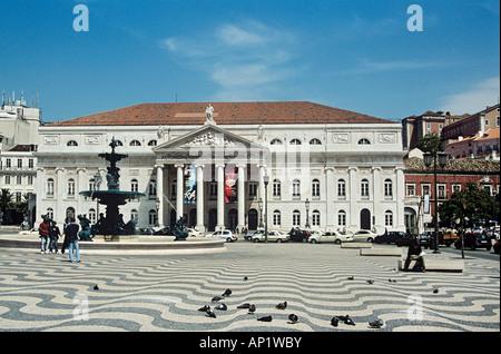 National Theatre, Teatro Nacional De Dona Maria II, Rossio Square, Lisbon, Portugal - Stock Photo