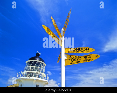 Signpost and a light house at Cape Reinga North Island New Zealand - Stock Photo
