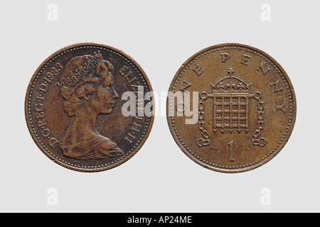 Front and back of a one penny coin british currency GBP pound sterling money - Stock Photo