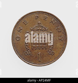 One penny coin - see image no. AP24MD for backside of this coin, british currency GBP pound sterling money - Stock Photo