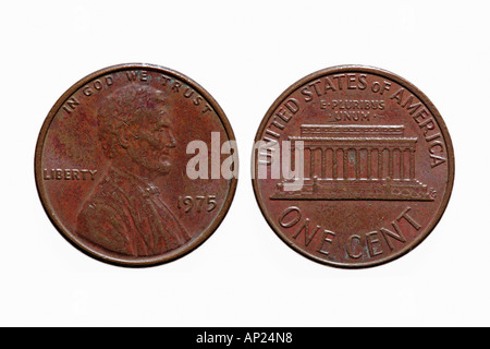 Front and back of a one cent coin U S american currency dollar - Stock Photo