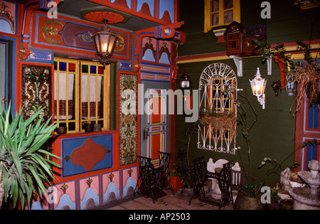 Decorative inner courtyard of Kybele hotel in sultanahmet district Istanbul city Turkey - Stock Photo
