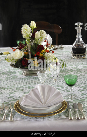 Victorian Dining Table Setting Silver Service Place Settings In A Stock Photo