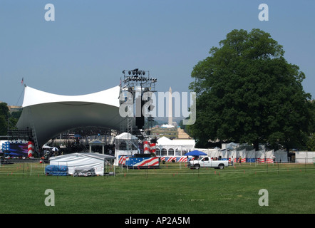 Covered Stage Area for Music Concert at the Top End of the National Mall on Memorial Day in Washington DC United - Stock Photo