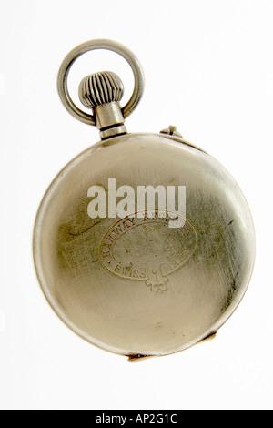 AAD72265 Pocket Watch Swiss Railway Register on white background - Stock Photo